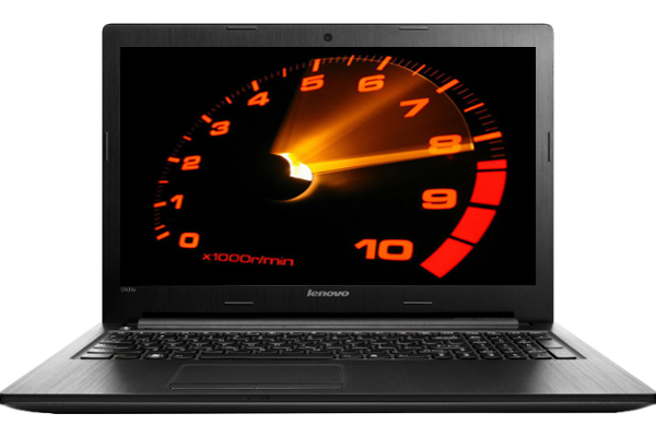 laptop with large glowing tachometer taking up the whole screen